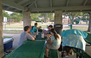 Neighbors picnicking in Hackberry Park